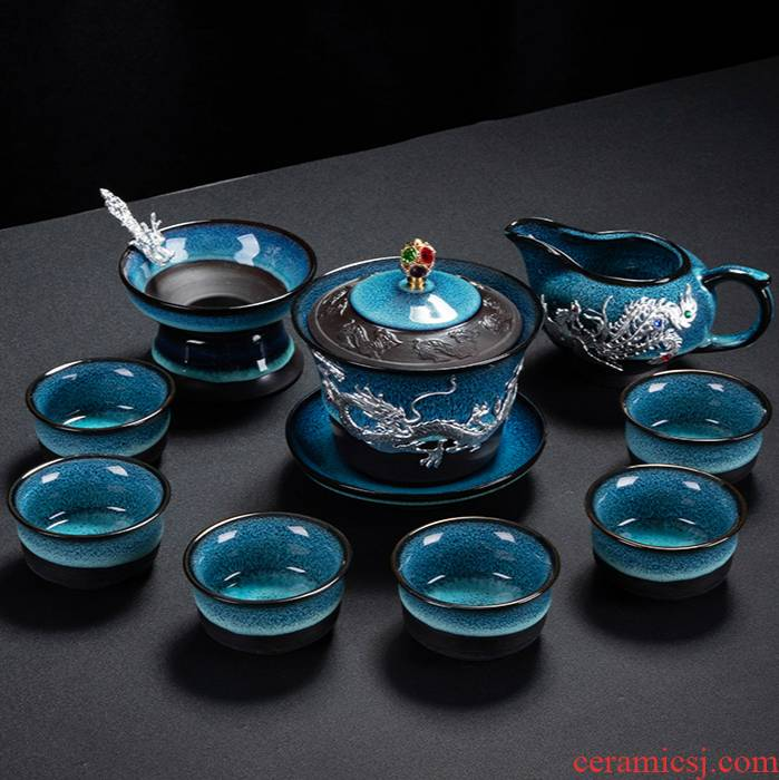 Ya xin up of a complete set of kung fu tea set suit household ceramics with YinJian light porcelain tea set the teapot tea cups