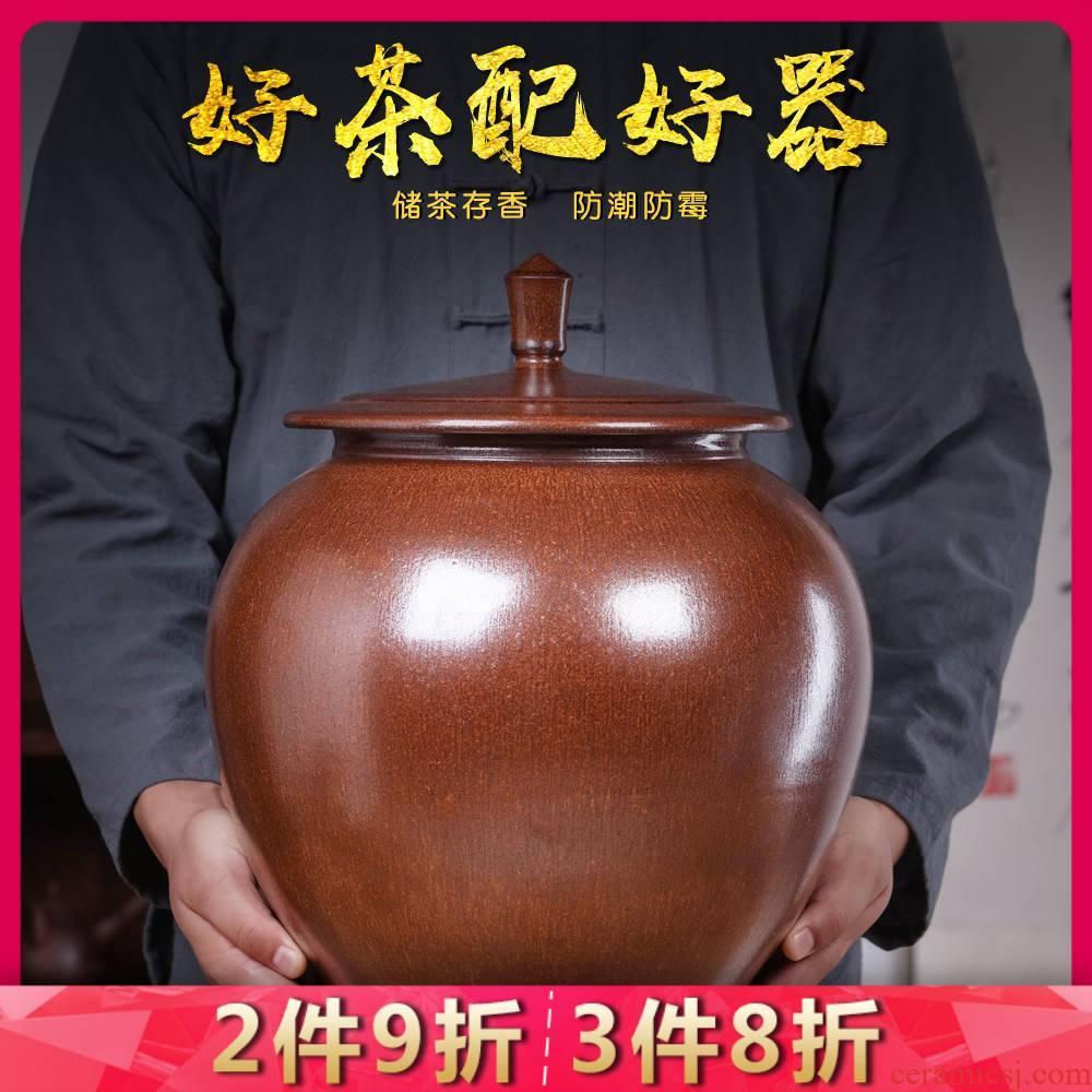 Jingdezhen ceramics large tea pot put POTS household sealed jar with cover moistureproof mildew insect - resistant barrel