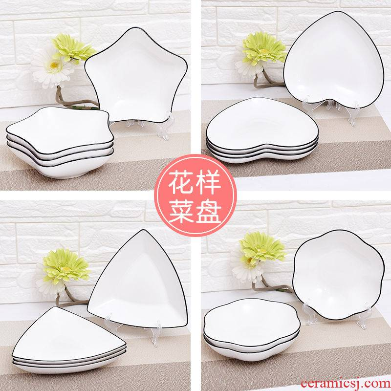4 with western food plates ceramic tableware of fruit salad plate tray is creative contracted the black home plate