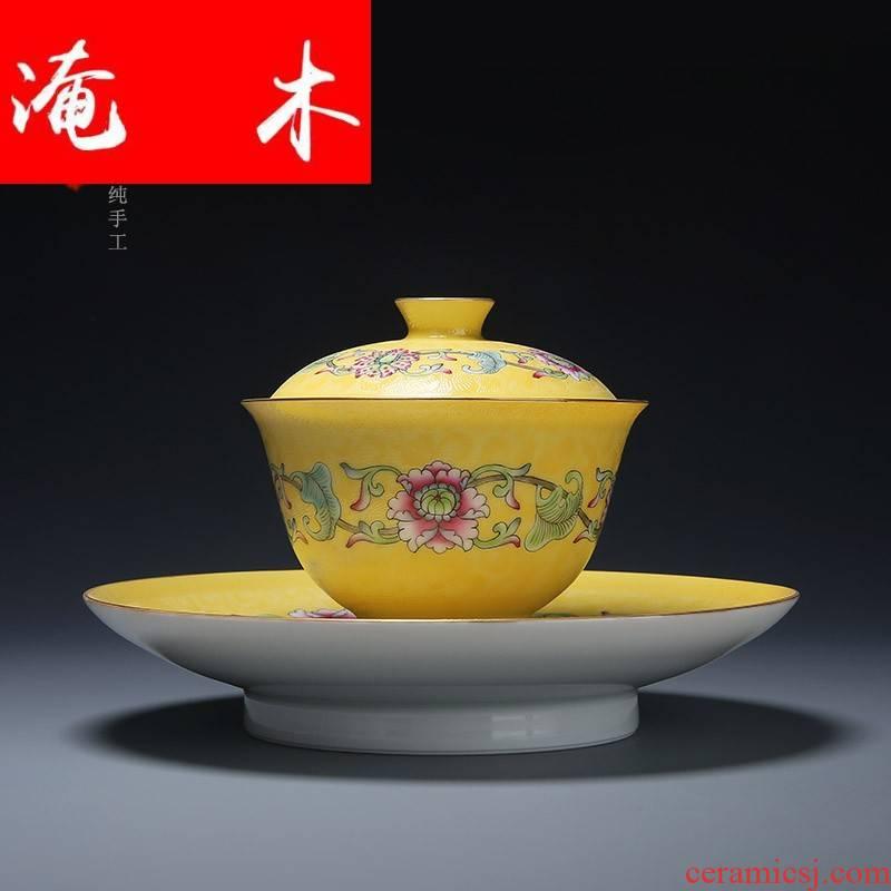 Submerged wood jingdezhen porcelain manual pick flowers pastel flowers around branches tureen hand - made kung fu tea set three bowls