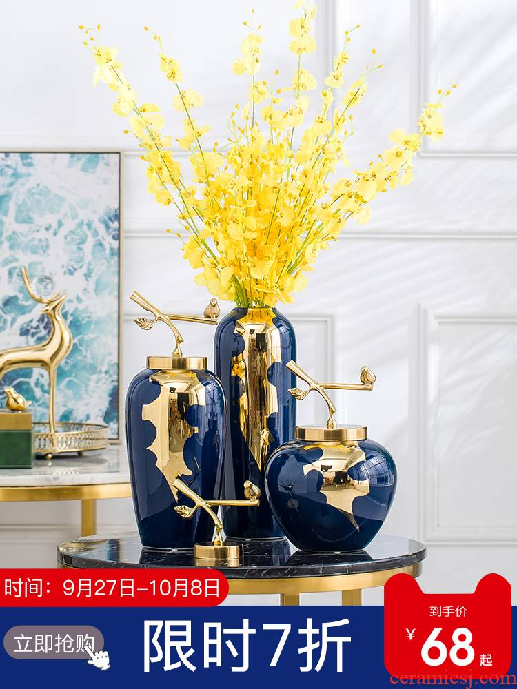Jingdezhen modern light key-2 luxury ceramic vases, TV ark place living room table dry flower arranging porcelain home decoration