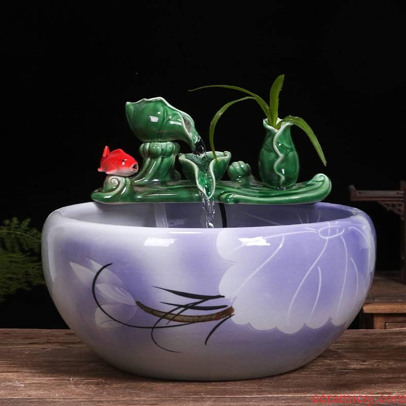 Art spirit of jingdezhen ceramic cylinder aquariums balcony gold furnishing articles lotus desktop small circulation water fish bowl