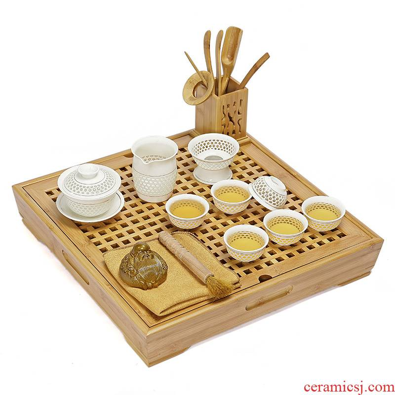 Ya xin honeycomb and exquisite tea sets suit hollow out gift box of blue and white porcelain ceramic cups high - grade contracted household kung fu
