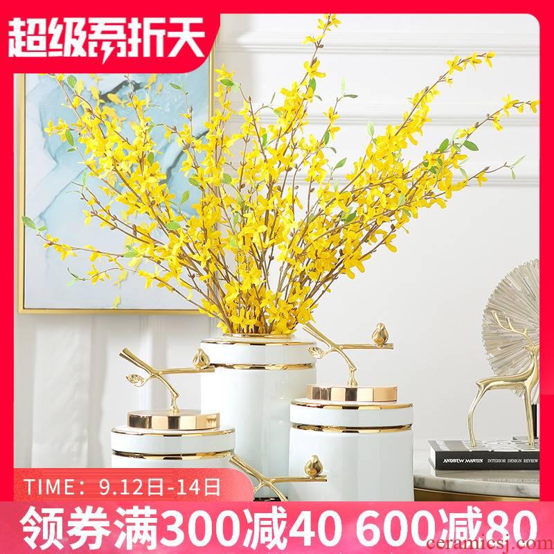 Modern light key-2 luxury ceramic vase furnishing articles sitting room desktop flower arrangement China Europe type TV ark, wine decorative arts and crafts