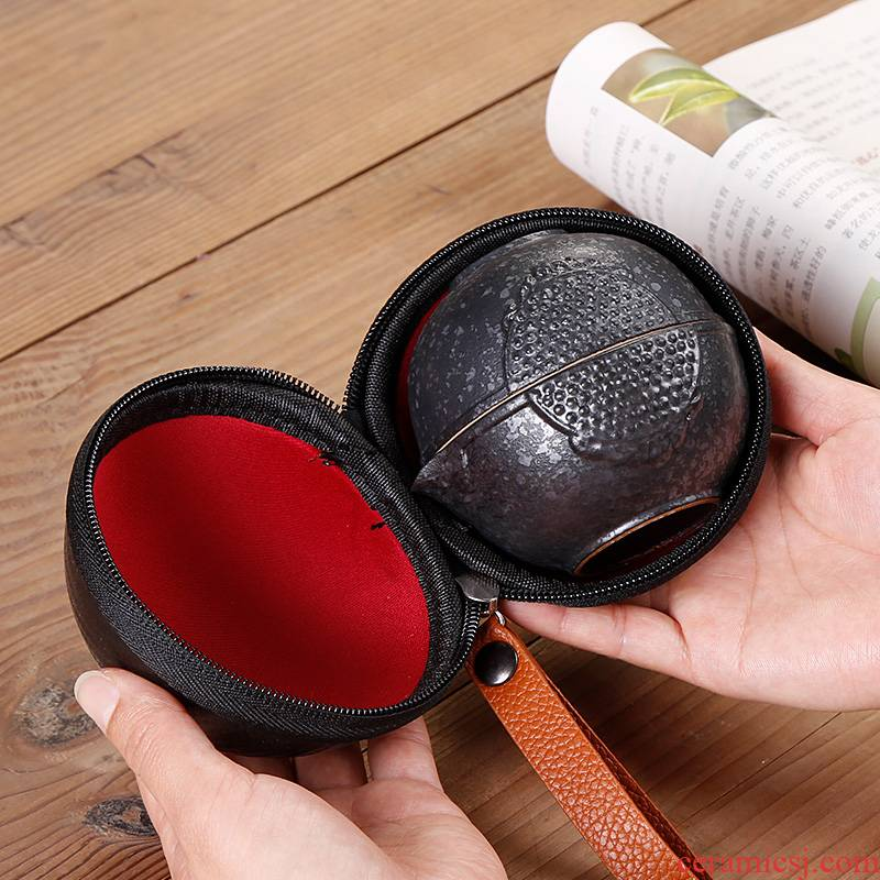 Crack cup travel a pot of two cups of tea set suit portable package with on - board, ceramic cup 2 people is suing the type