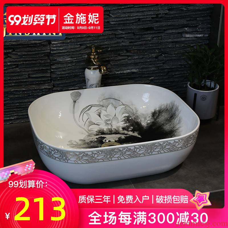 Basin ceramic art on the square on the toilet for wash face Basin sink Basin ink lotus