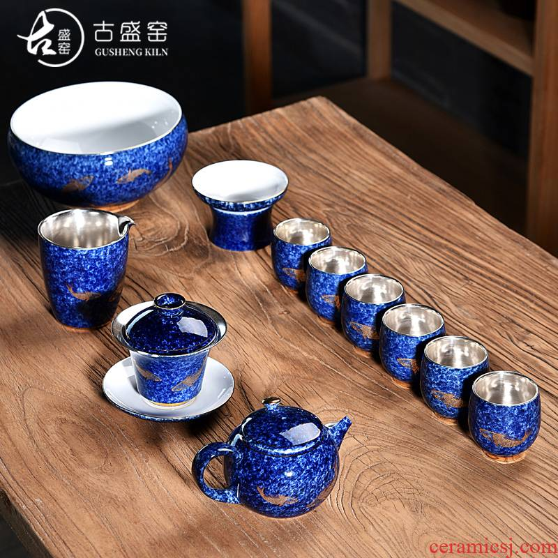 Ancient sheng up ceramic coppering. As silver tea sets, 999 sterling silver tea set kung fu tea cups of a complete set of the home office