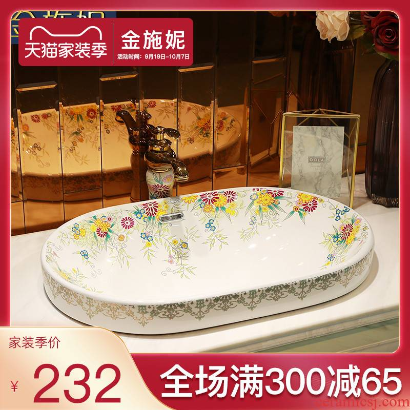 Rural ceramic half embedded in taichung basin sinks single art the sink basin on the basin that wash a face basin