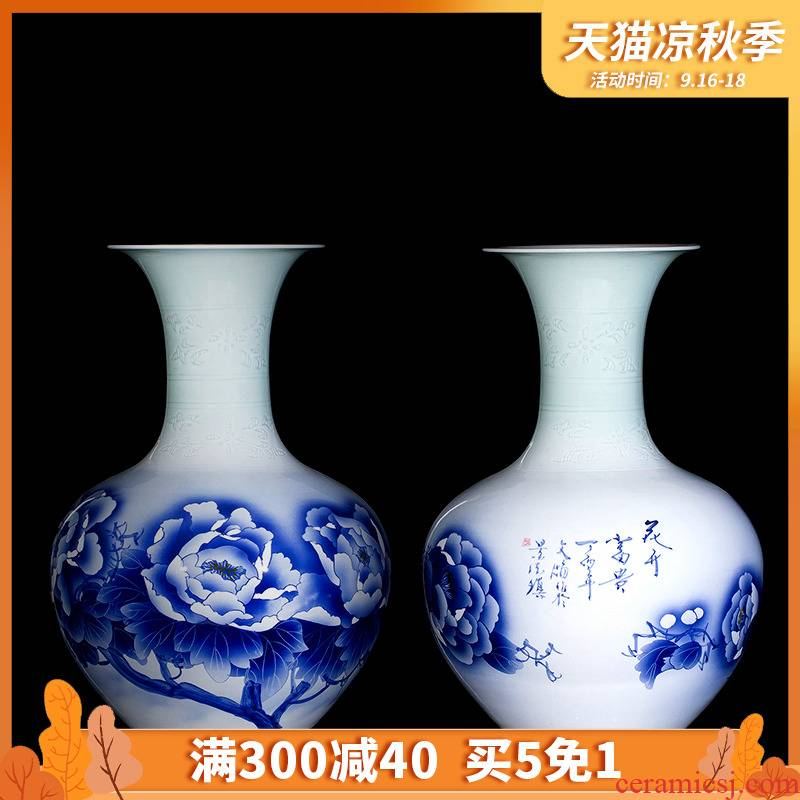 451 jingdezhen of large blue and white hand made peony vases furnishing articles bottles of flowers in the living room hotel decoration process