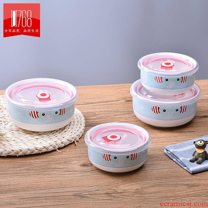 Household porcelain bowl with cover seal preservation microwave lunch box in a single children tableware promotional salad bowl
