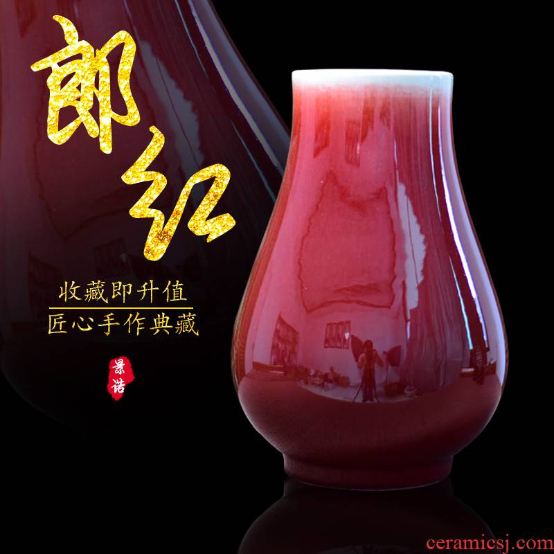 Jingdezhen ceramic antique vase ruby red flower POTS tube furnishing articles mesa sitting room of Chinese style household decorative arts and crafts