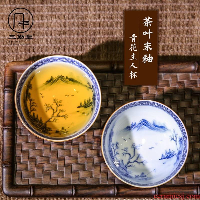 The three frequently hand - made master cup single cup sample tea cup jingdezhen blue and white porcelain tea set S43013 kung fu tea cups landscape