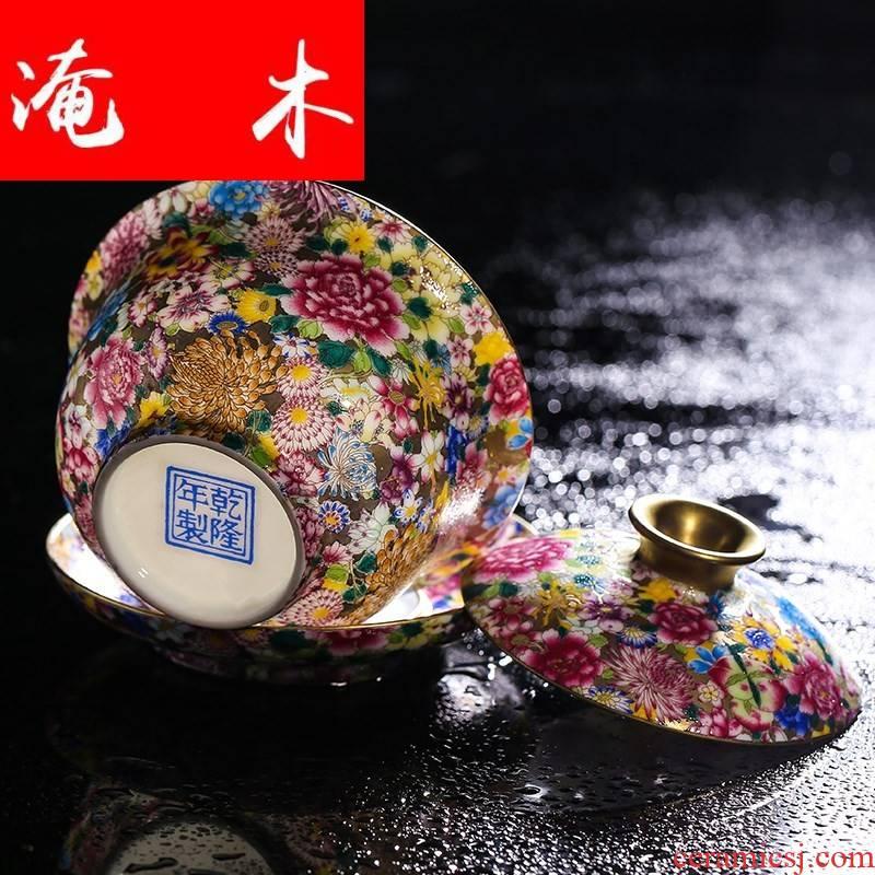Flooded three to jingdezhen wood antique ceramic flower pastel colored enamel craft tureen kung fu tea tea cup