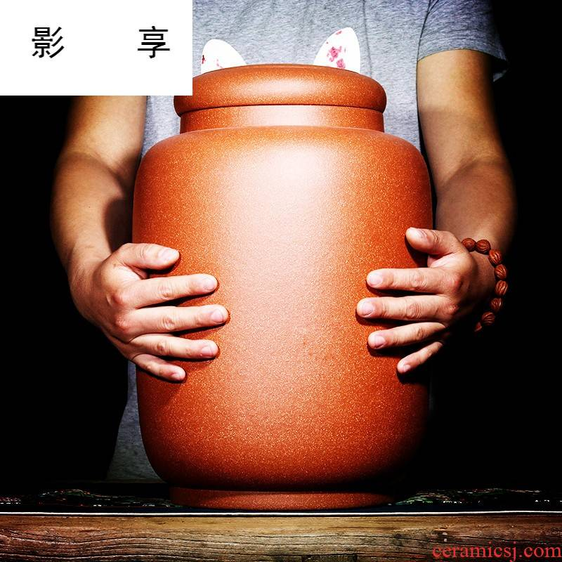 Shadow at yixing purple sand tea pot oversized pure manual undressed ore down slope mud pu - erh tea storage tanks cylinder boutique JH