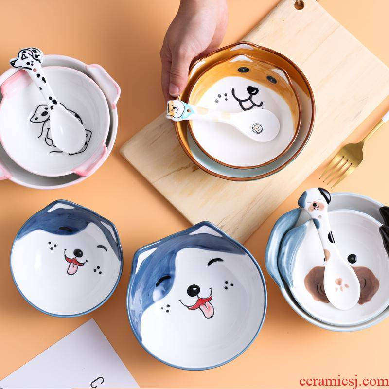 Dogs eat rice bowl series cartoon hand - made ceramic dishes spoon set tableware Korean household and lovely move trend