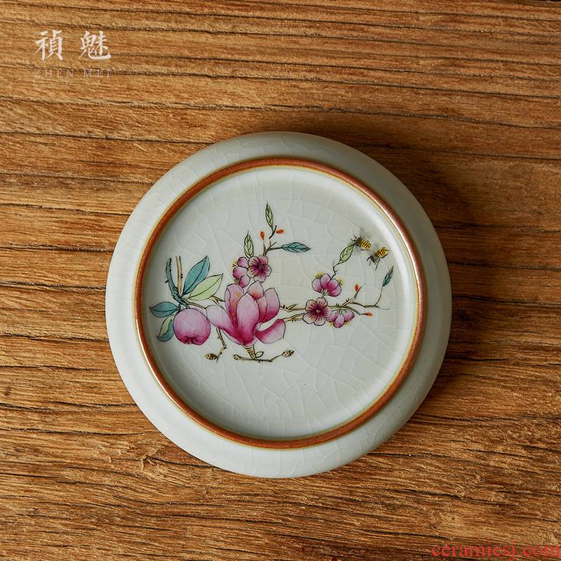 Shot incarnate your up hand - made yulan cover kung fu tea saucer jingdezhen ceramics fittings the piece of glass cup mat