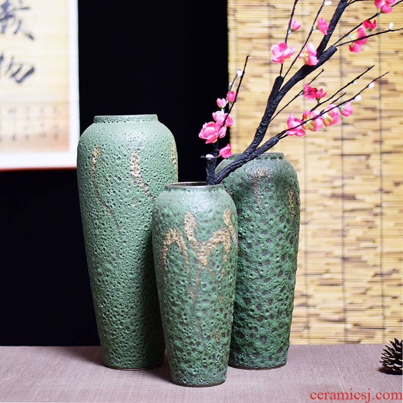 Jingdezhen coarse some ceramic pot pottery three - piece antique vase to restore ancient ways small and pure and fresh, vases, flower arranging furnishing articles in the living room