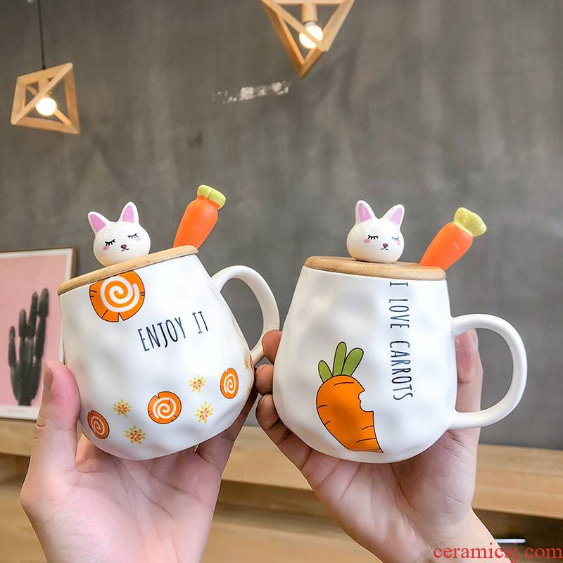 Jump to the cartoon mark cup carrots rabbit with cover teaspoons of ceramic cup express picking keller cup cup men and women students