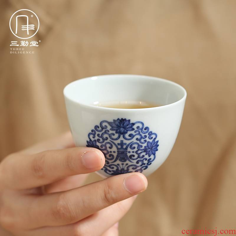 Three frequently hall sample tea cup of blue and white porcelain of jingdezhen ceramic cups kung fu tea masters cup S43076 personal single CPU