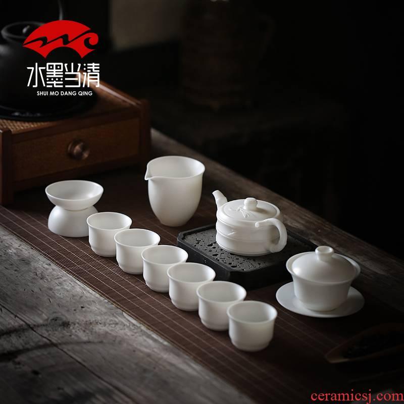 Dehua white porcelain kung fu tea set suit household pure white thin foetus lid bowl of tea cup office gift boxes