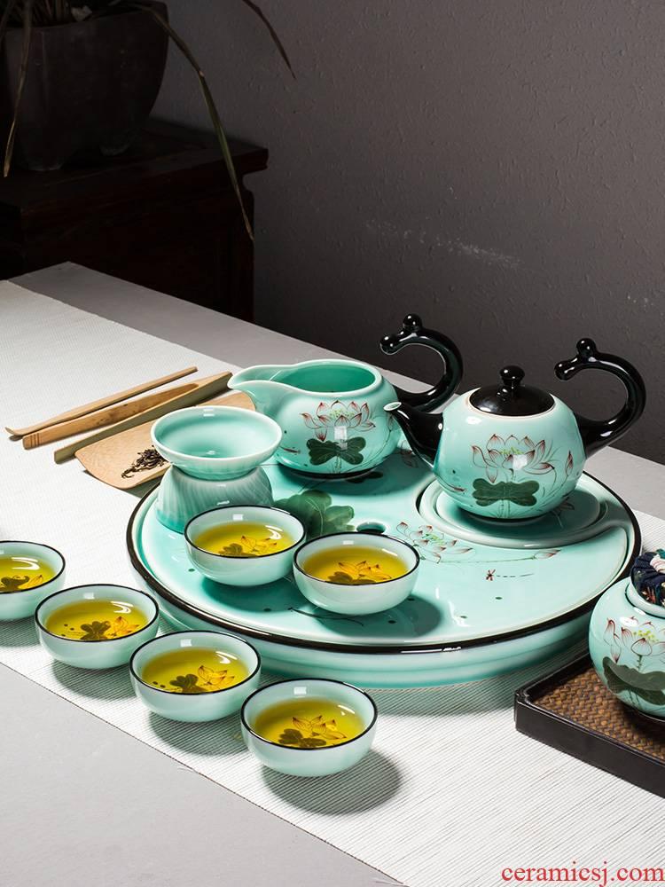 Kung fu tea set home office tea kettle celadon porcelain lotus jingdezhen hand - made tea tea table