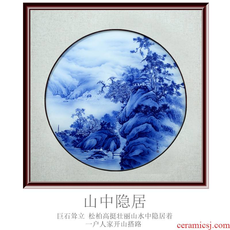 Jingdezhen blue and white porcelain painting landscape painting porcelain plate painting the sitting room adornment study modern sofa setting wall hang a picture