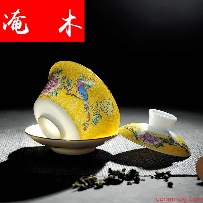 Grilled flooded jingdezhen wood powder enamel hand - made paint ceramic flower bowl kung fu tea set three tureen palace yellow and blue