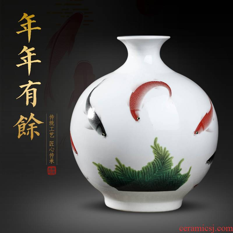 Jingdezhen ceramics powder enamel more vase furnishing articles year after year flower arranging new Chinese style living room home wine ark, adornment