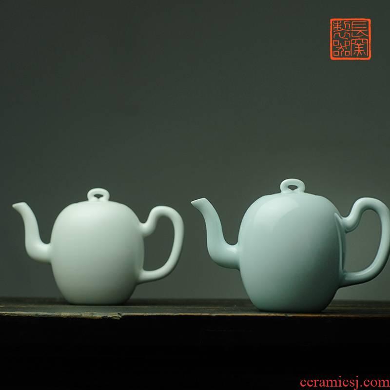 Long up controller offered home - cooked in manual, grey light Bai the Qing glaze beauty shoulder teapot jingdezhen ceramic tea set