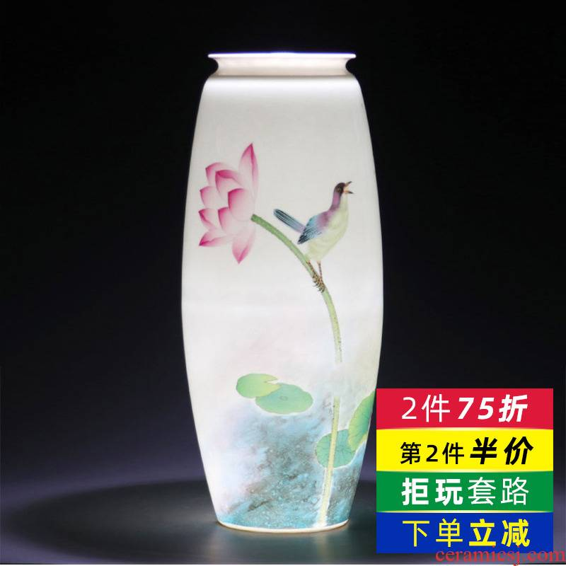 Jingdezhen ceramics hand - made thin foetus lotus flower bottle furnishing articles creative modern home flower arrangement sitting room adornment