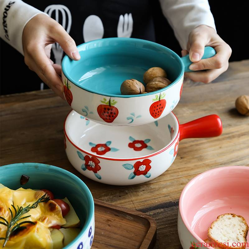 Northern wind creative hand - made ceramic household microwave oven roasted bowl of fruit salad bowl hands cheese baked bread and butter