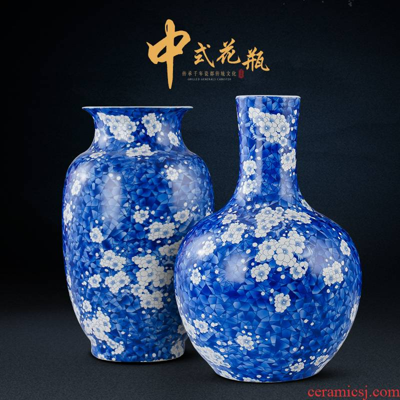 Antique vase of blue and white porcelain of jingdezhen ceramics dried flowers sitting room porch TV ark, home furnishing articles