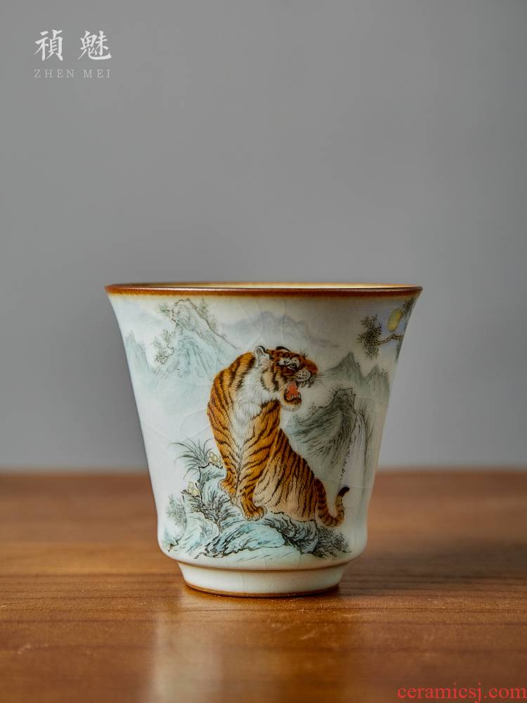Shot incarnate your up hand - made tiger master cup single CPU jingdezhen ceramic kung fu tea set personal open sample tea cup