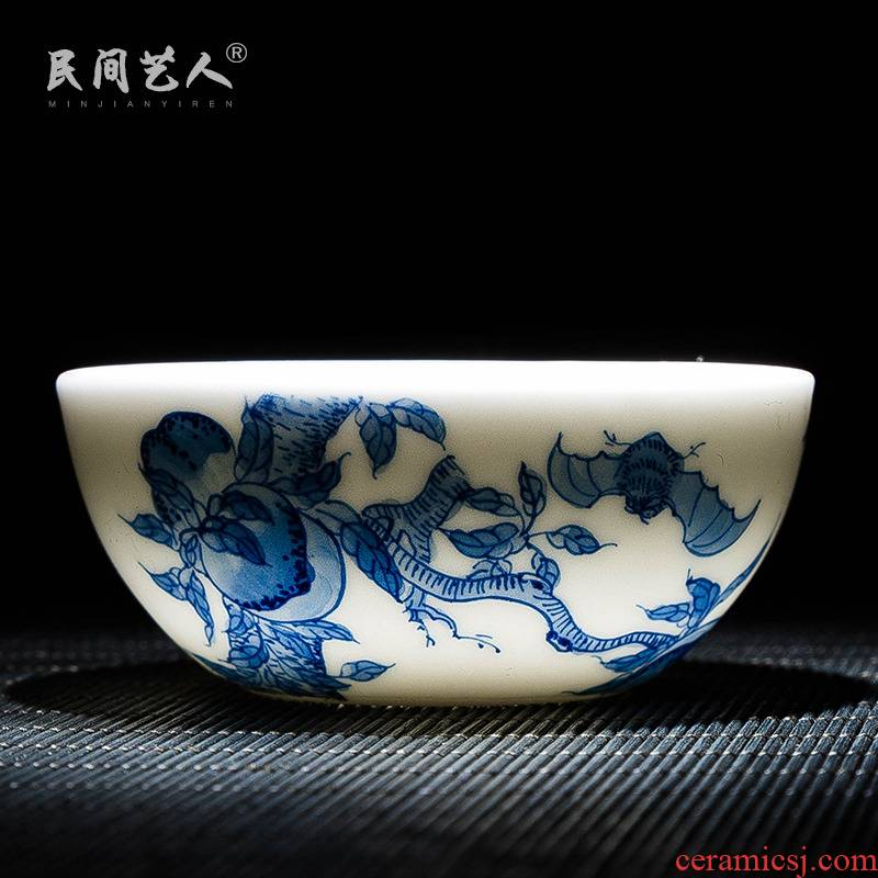 The Master cup single CPU manual kung fu cup hand sample tea cup of blue and white porcelain of jingdezhen ceramic tea set personal tea cups