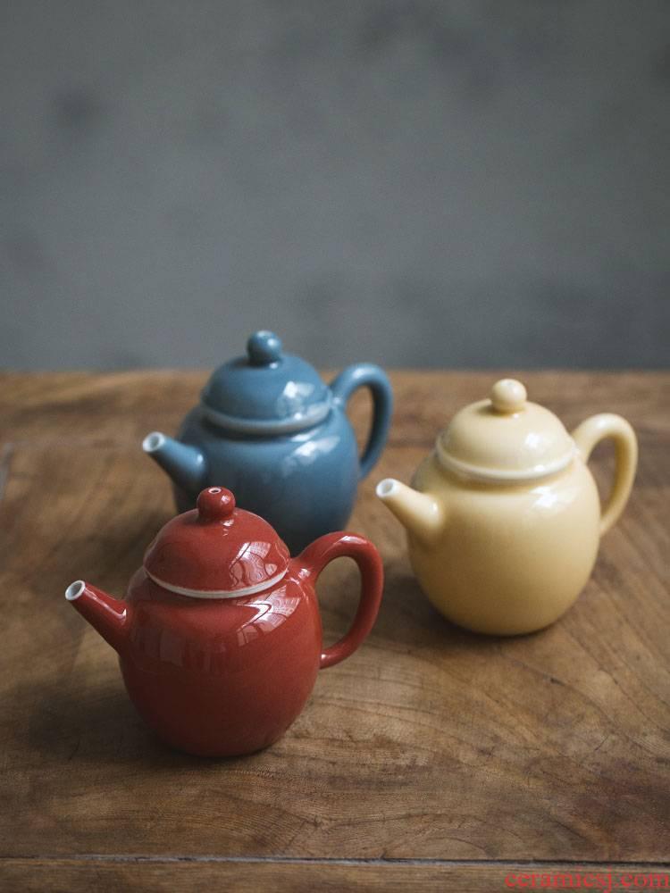 Ultimately responds to jingdezhen belt filter mini color glaze trumpet tea machine manual ceramic teapot kung fu tea pot