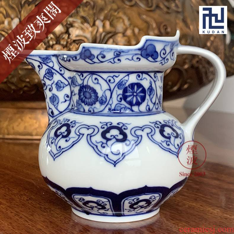 Jingdezhen nine calcinations hand - made blue - and - white porcelain hand wrapped branch ruyi mitral pot of fair keller