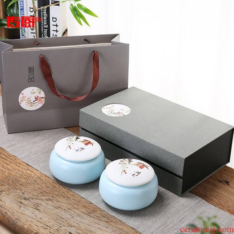 The kitchen ceramic tea pot box set double pot of tea tins half jins of ceramic POTS