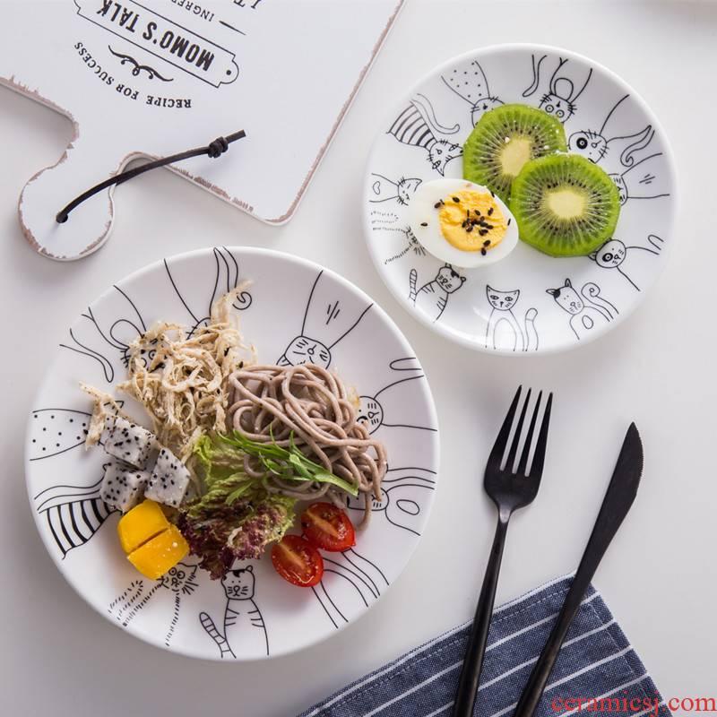 Creative cake cartoon cat fruit plate ceramic zakka breakfast dish dish dish dish tableware beefsteak