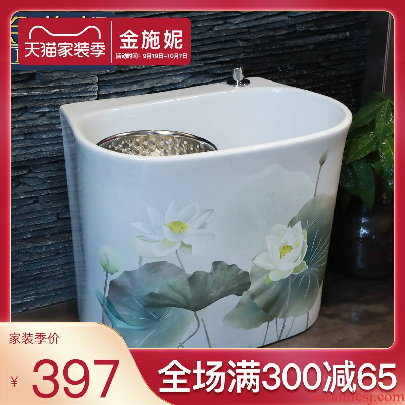 Double drive ceramic art restores ancient ways the mop pool balcony toilet wash basin floor type large mop pool