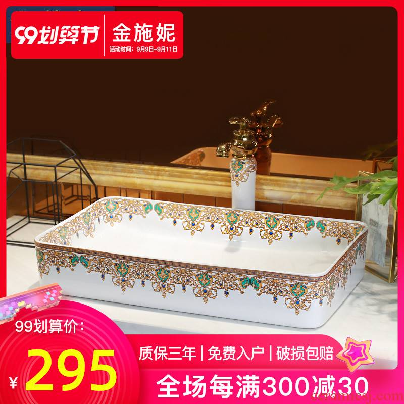 Basin of Chinese style restoring ancient ways on the ceramic Basin sink single household balcony Basin Basin balcony lavatory Basin of art