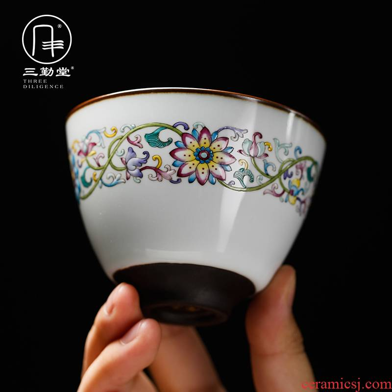 Three frequently hall official up jingdezhen kung fu tea cups ceramic sample tea cup colored enamel cup single CPU S42150 master