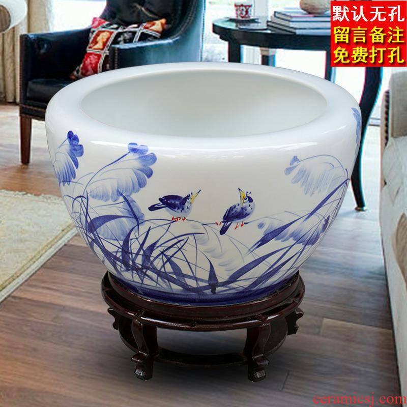Jingdezhen ceramic flower pot extra large basin of water lily bowl lotus lotus balcony hydroponic plant pot fish turtles cylinder