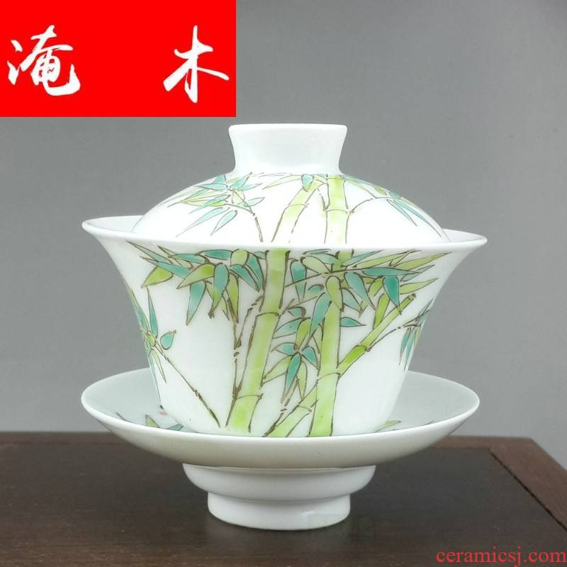 Flooded wood jingdezhen hand - made pastel fat white ceramics from three to tureen large high - grade mercifully kung fu tea tea cup