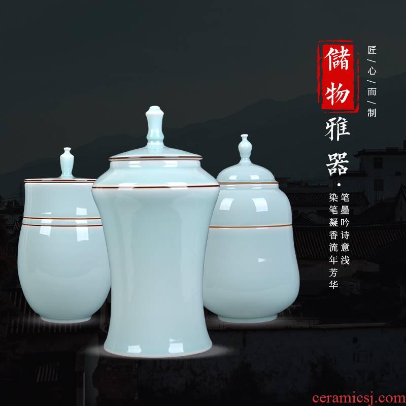 Caddy fixings ceramic large half jins to storage tanks receive a pot of pu 'er tea, green tea POTS moistureproof household