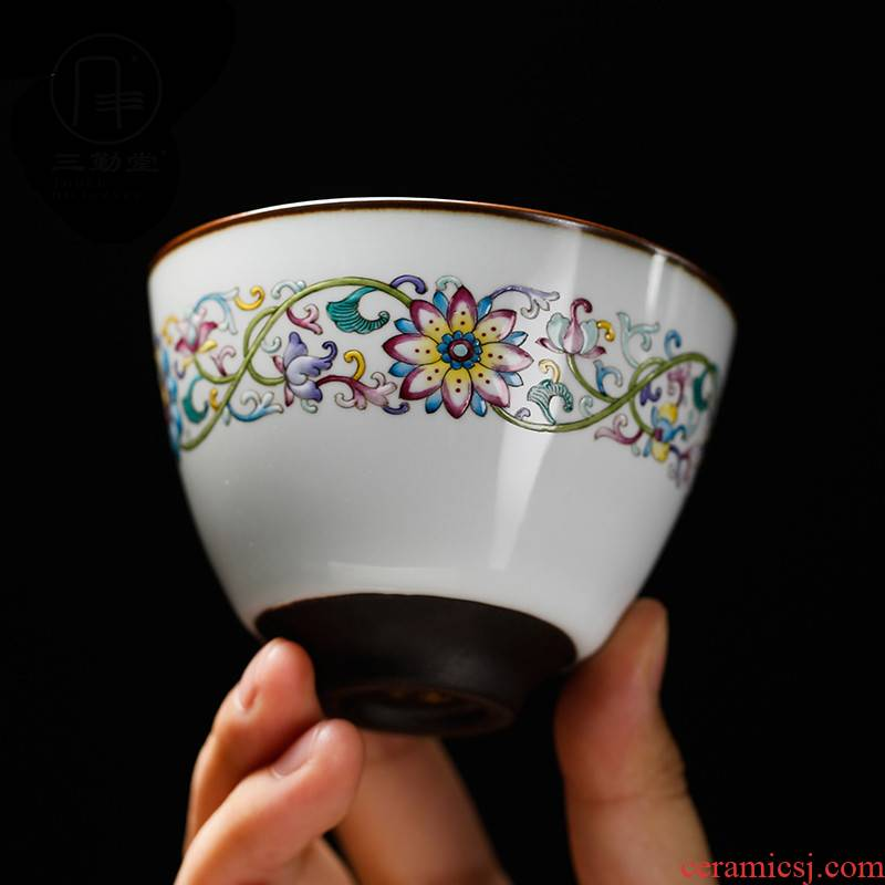 . Poly real boutique scene. Up with jingdezhen kung fu tea cups ceramic sample tea cup colored enamel master cup single CPU