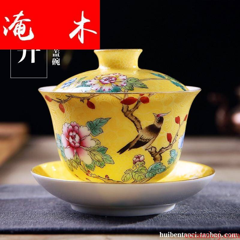 Submerged wood jingdezhen to plunge into the steak flower tureen single three GaiWanCha only way checking ceramic glaze porcelain famille rose tea set