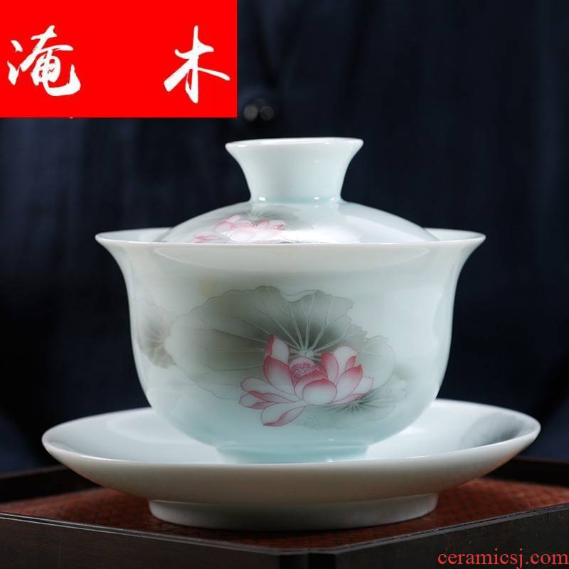 Submerged wood, jade porcelain tureen large cups manual three bowl kung fu tea tea powder enamel ware jingdezhen ceramics