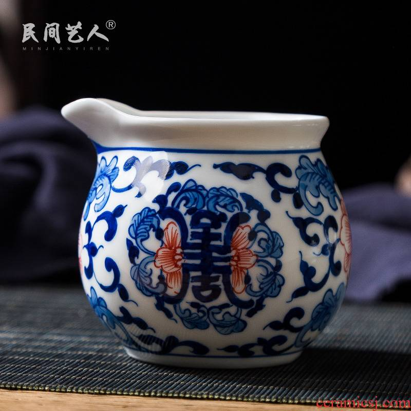 Jingdezhen blue and white youligong hand - made ceramic group long - lived kung fu tea tea ware accessories points well fair keller cup