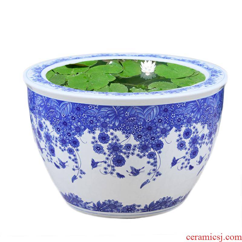 Basin of blue and white porcelain of jingdezhen ceramics is increasing in flowerpot extra large water lily bowl lotus lotus garden kind of cycas flowers cylinder