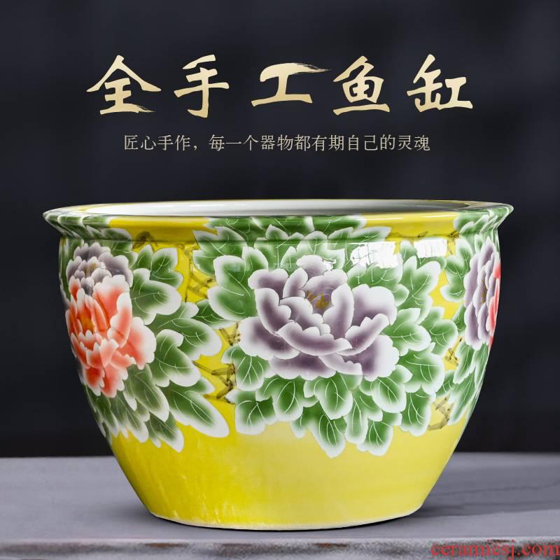 Jingdezhen ceramic heavy tank porcelain jar turtle lotus goldfish bowl sitting room feng shui large fish tank